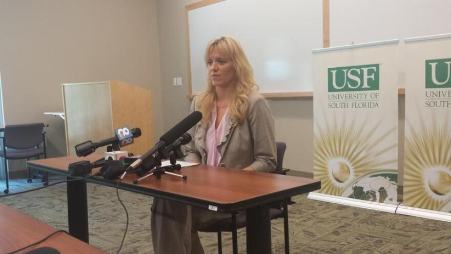 USF Anthropology Professor Erin Kimmerle talks to reporters Thursday about the proposed research facility.