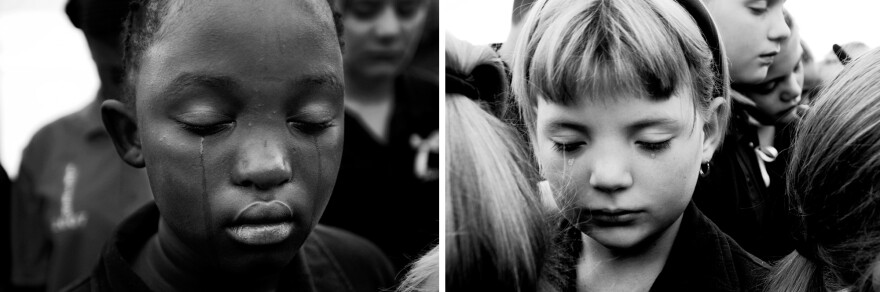 "Sheldean Human of Pretoria, South Africa, was seven when she was murdered, then raped, by a stranger in 2007. Furrer photographed her schoolmates: ""These two girls represent a situation of incredible pain and loss but they are just so dignified. It breaks my heart."""
