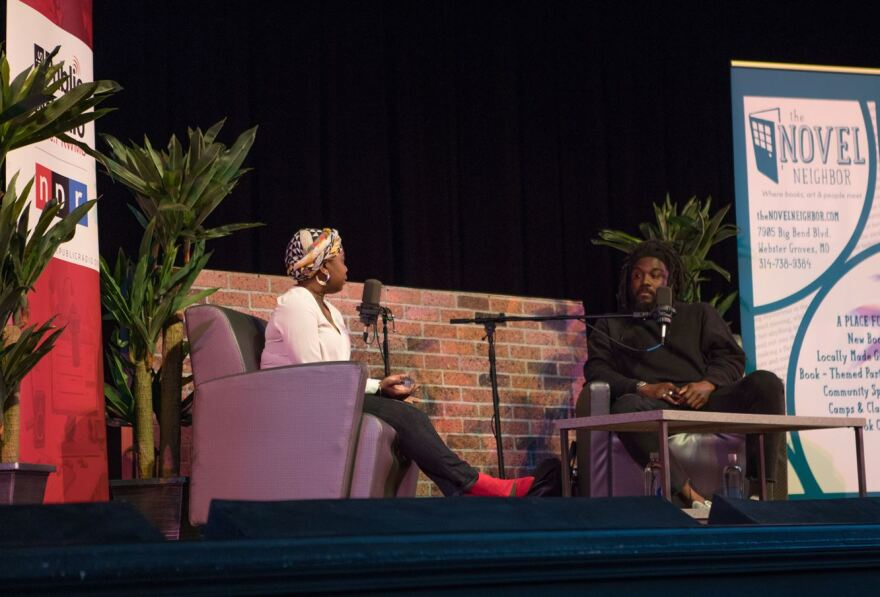 Author Jason Reynolds was in conversation with former 'We Live Here' podcast co-host Kameel Stanley on April 26 at University City High School. | Heidi Drexler
