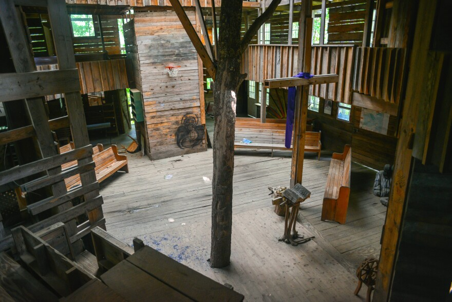 The treehouse held classrooms, bedrooms, and a chapel that doubled as a basketball court.
