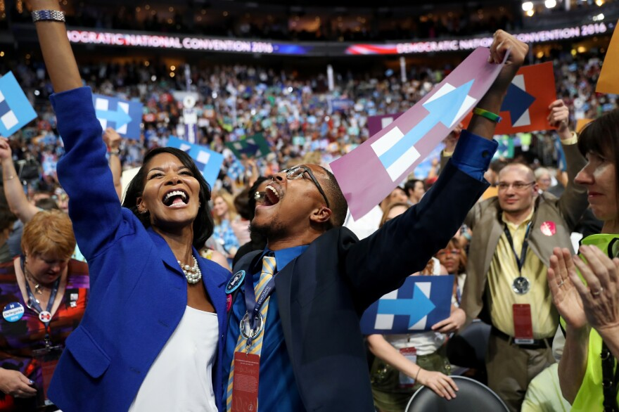 Delegates celebrate after formally nominating Democratic presidential candidate Hillary Clinton.