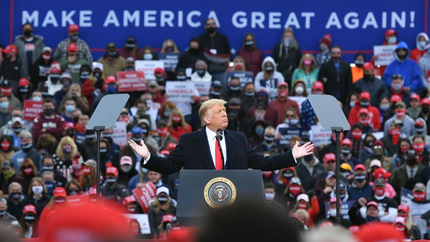 President Trump holds a rally in Londonderry, N.H., on Sunday.