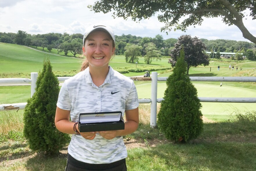 "Emily Nash, shown on Aug. 8 after <a href=""http://www.mgalinks.org/about-us/news/2017/news_2017_080317b.html"">winning</a> the Massachusetts Golf Association's WGAM Junior Amateur Championship. This month, in an unrelated high school tournament, Nash was denied a trophy despite her winning score."