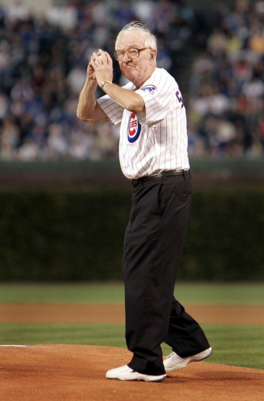 Justice John Paul Stevens, a Chicago native, throws out the first pitch before the Chicago Cubs game Sept. 14, 2005, at Wrigley Field in Chicago.