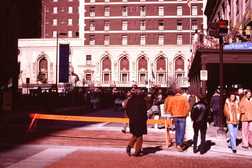 Adolphus Hotel, front, and Baker hotel, right, on Jackson Street, December 1974