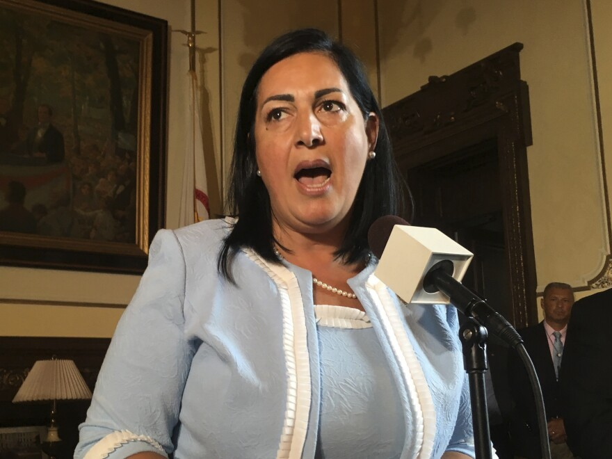 The Illinois Department of Veterans' Affairs, led by Linda Chapa LaVia, shown here in 2018, has ordered an independent investigation into a coronavirus outbreak at a veterans' home.