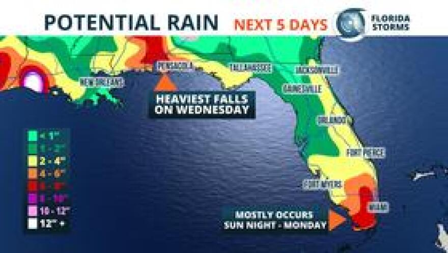 Potential rain from the developing tropical system.