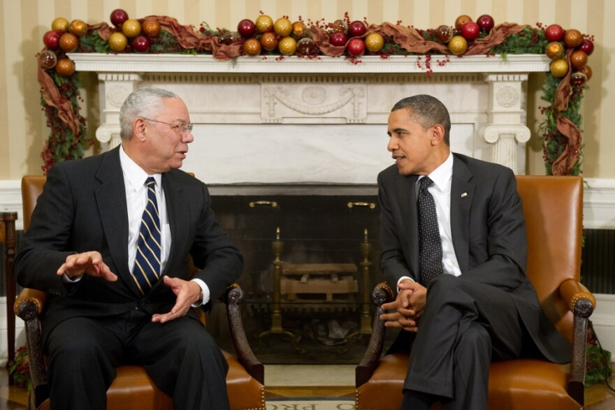 """Powell endorsed Barack Obama for president in 2008. """"I'm proud of the vote I cast for him in 2008, I think he was absolutely the right choice,"""" Powell says. When it comes to the 2012 election, Powell says he's """"not prepared"""" to say who he'll be voting for."""