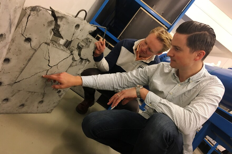 Vegard Aune (right), an associate professor in structural engineering, and Henrik Granum, a Ph.D. candidate at the Norwegian University of Science and Technology in the city of Trondheim, test the impact of simulated explosions on materials such as concrete.