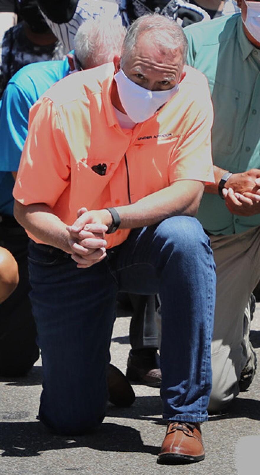 Akron mayor Dan Horrigan wears a mask at a June 6 protest.