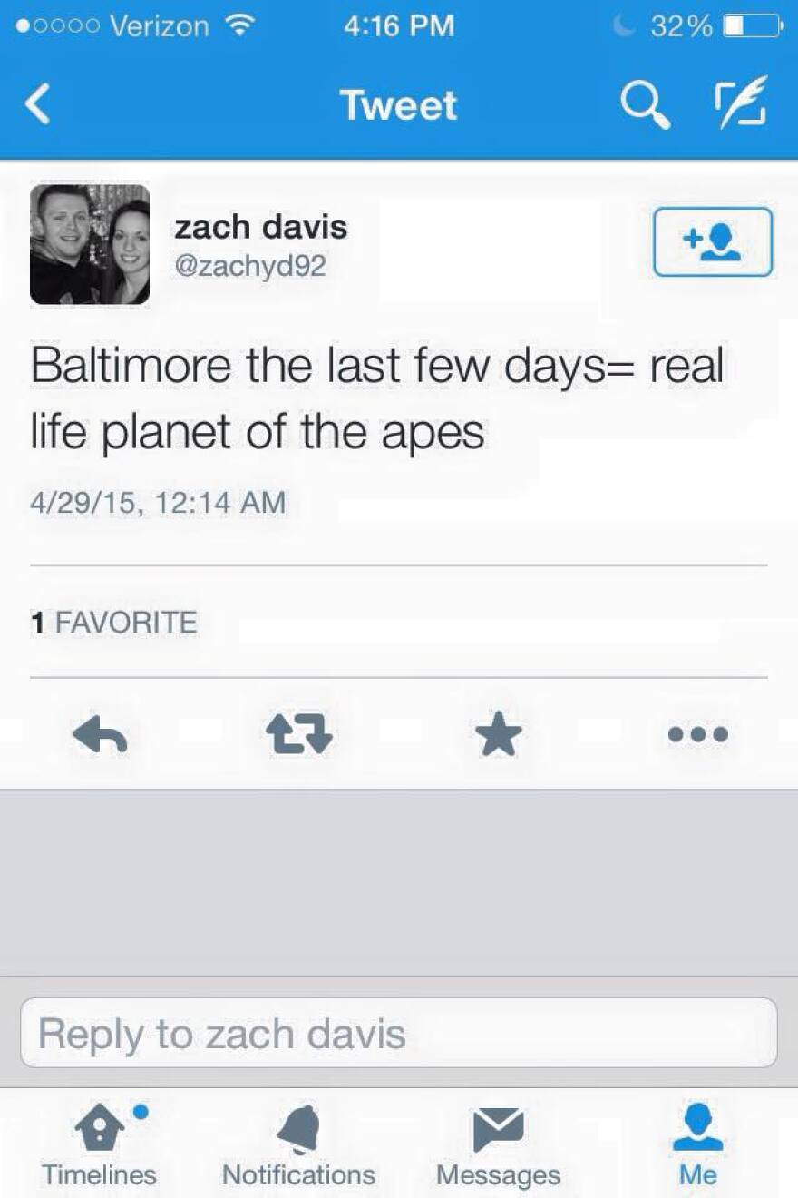 An acquaintance took a screen shot of Clark County Sheriff's Deputy Zachary Davis's tweets about Baltimore. He has since been fired.