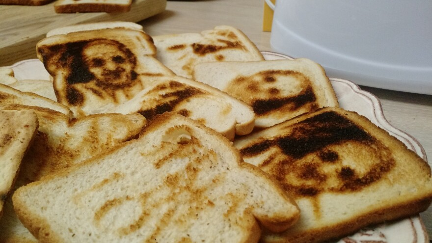 The image of Pope Francis ended up on these slices of toast thanks to a special toaster with metal stencillike inserts. But in most cases where people report seeing faces in their food, their brain is behind the illusion.