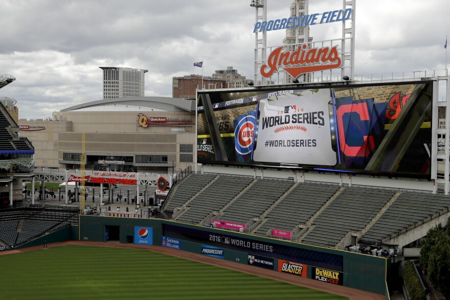 Progressive Field, home of the Cleveland Indians, is set up for Game 1 of the World Series against the Chicago Cubs on Tuesday night.