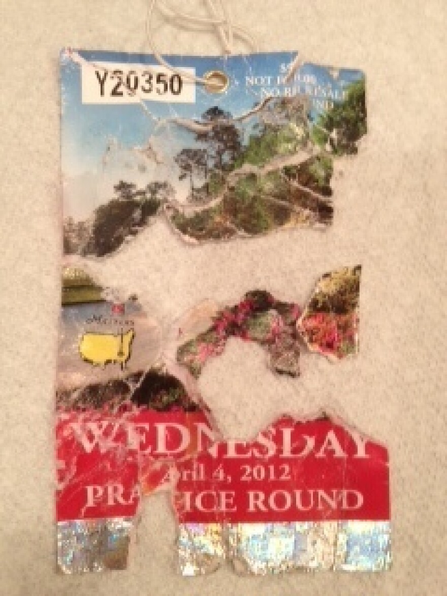 One of the pieced-together tickets.