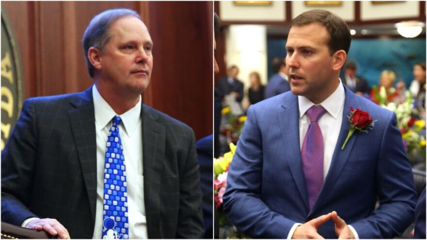 Sen. Wilton Simpson, R-Trilby, left and Rep. Chris Sprowls, R-Palm Harbor, right.
