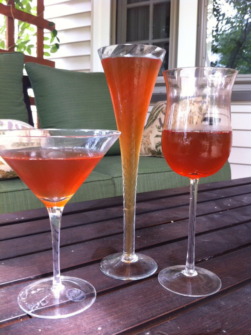Question: Which one of these glasses contains the most liquid? Answer: None. Each of them contains 4 oz. of iced tea.