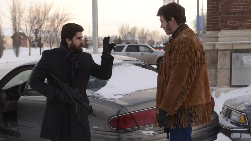 Mr. Numbers (Adam Goldberg) signs to Mr. Wrench, played by Russell Harvard, in the sixth episode of the TV show <em>Fargo</em>.