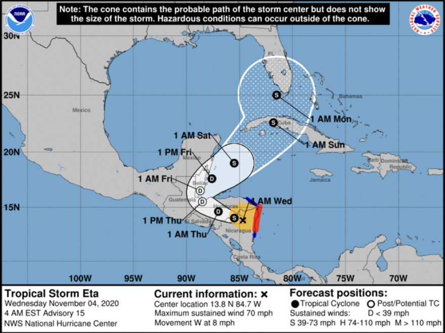 Hurricane Eta has weakened into a tropical storm early Wednesday and is expected to turn into a tropical depression in the next 24-hours as it continues to move across Central America. Forecasters predict its turn back into the Caribbean Sea in the next few days will let it strengthen into a tropical storm again before it moves across Cuba and approaches South Florida this weekend.
