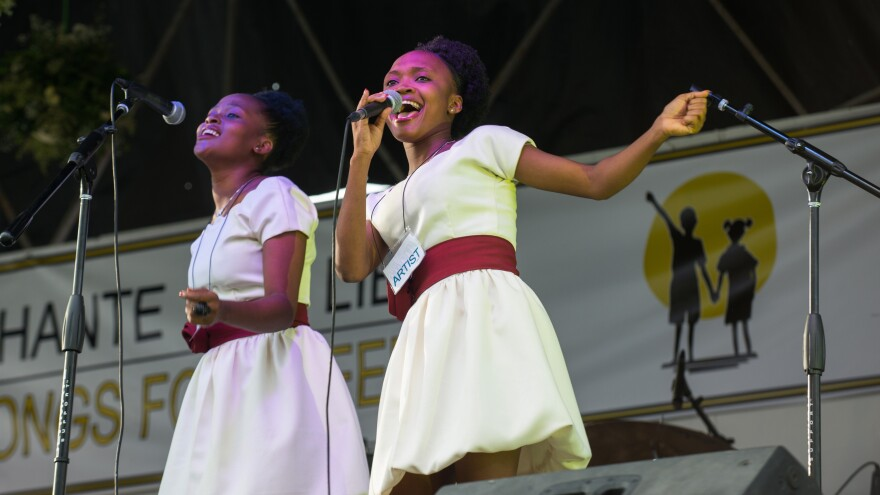 "Frantzita Dede, who's 19, sings ""Let's Help Them"" — the child slaves of Haiti."