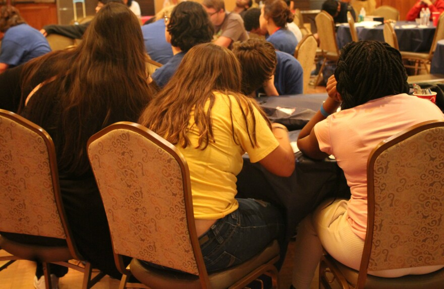 Teenagers in foster care listen to advice from UTSA students who were previously in foster care July 23, 2019.