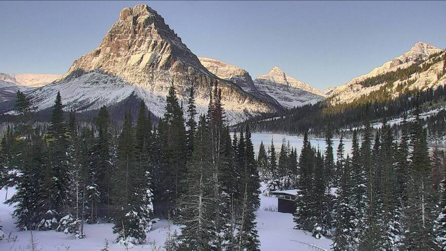 Montana got hit hard by an intense snowstorm over the weekend. Here, a view from Glacier National Park's webcam at Two Medicine Lake, near the park's southeastern edge.
