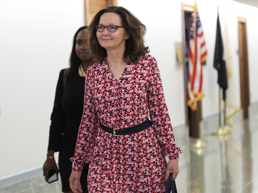 CIA Director nominee Gina Haspel walks to meetings on Capitol Hill on Monday.