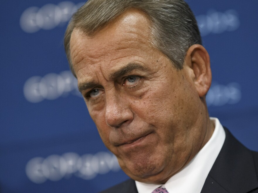House Speaker John Boehner and GOP leaders face reporters on Capitol Hill in Washington, on Tuesday.