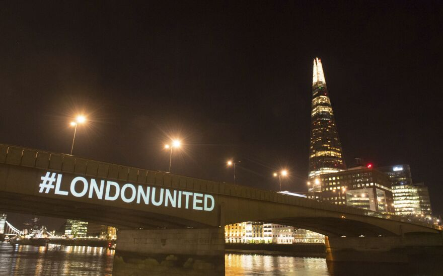 A tribute is projected onto the side of London Bridge to mark one year since a deadly vehicle-and-knife attack.