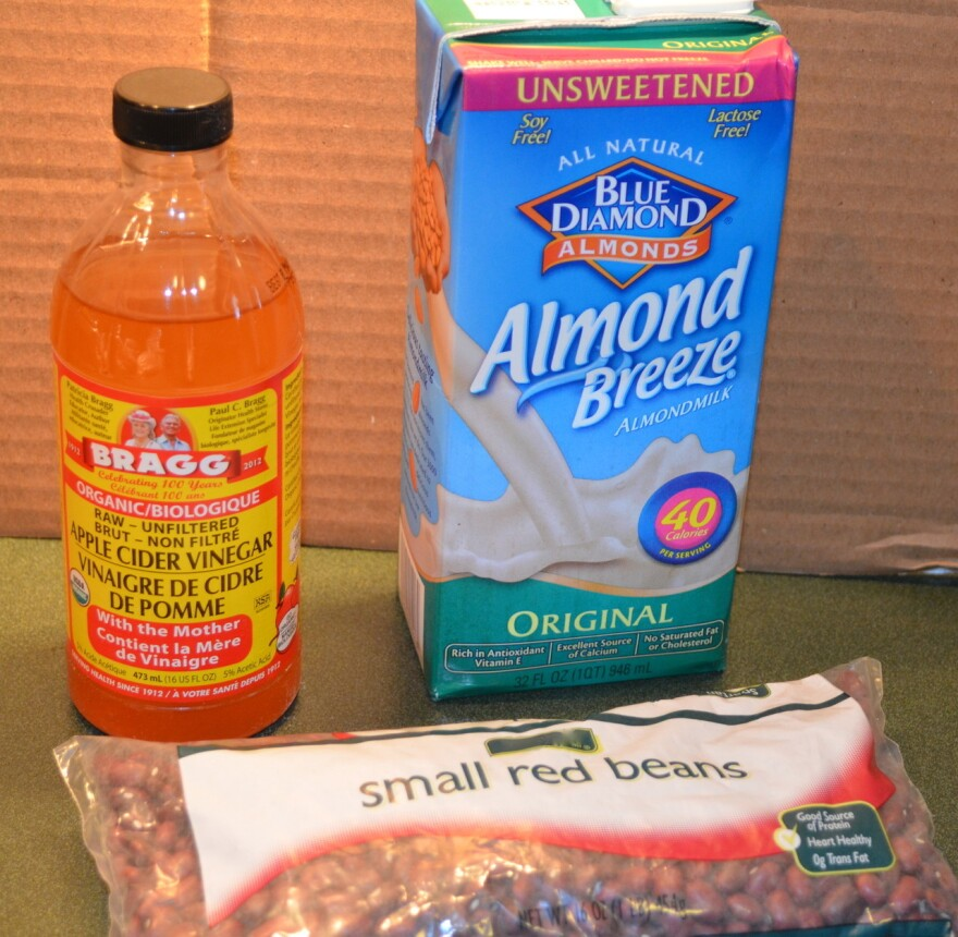 Marcy Misner's pantry yielded a tricky combination of ingredients: cider vinegar, almond milk and small red beans.