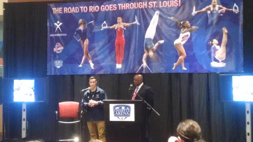 USA Gymnastics COO Ron Galimore (right), accompanied by Olympic gymnast Jake Dalton, said St. Louis offers the right environment for the men's Olympic team trials in 2016.