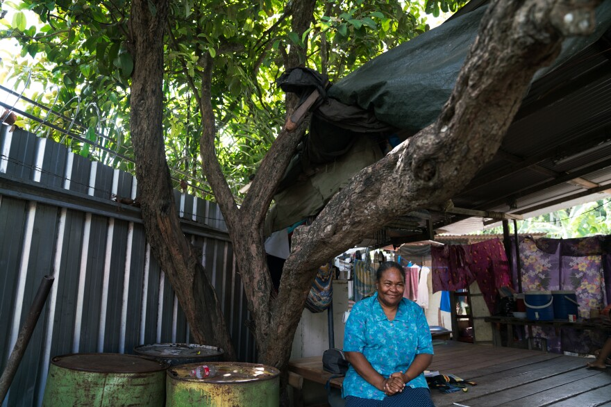 Linda Tule lives with her family in a small house under a mango tree. She often meets at home with her clients, victims of domestic abuse. If a shelter isn't available, she sometimes hosts the survivors herself.