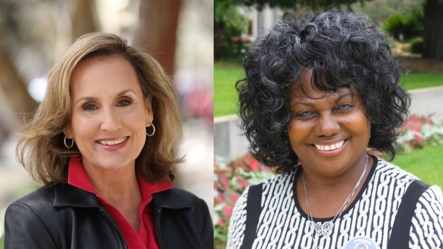 Two women are pictured side by side.