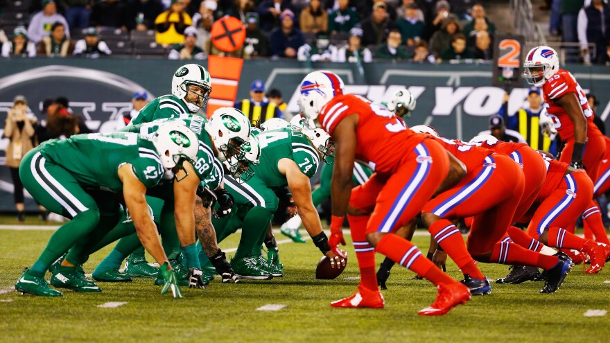 For Thursday night's game, the New York Jets and Buffalo Bills wore solid colors — green and red, respectively — that were created by Nike. Many colorblind fans were not happy with the pairing.