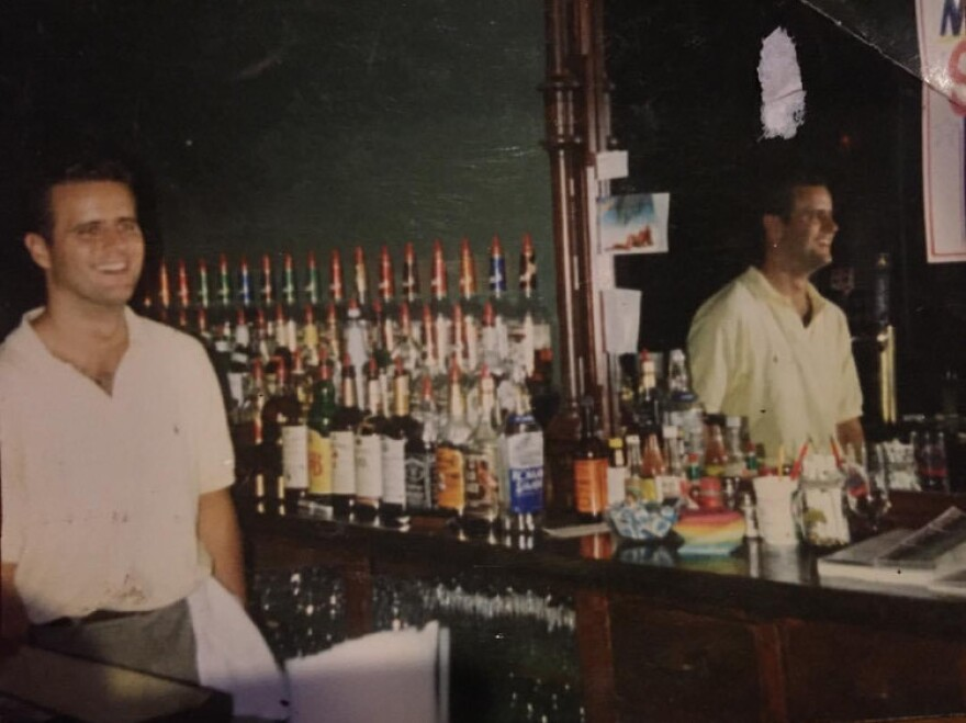 Great Scott manager Tim Philbin behind the bar in the late '80s.