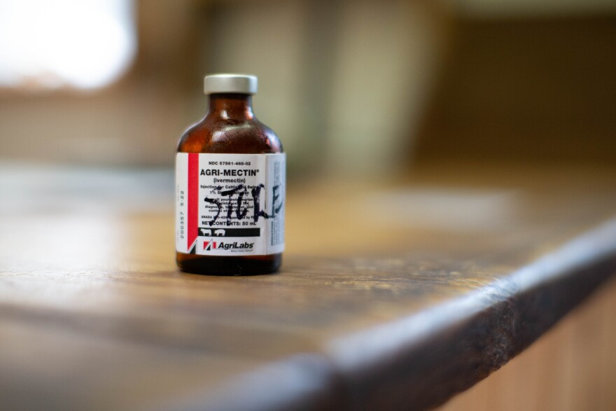 A bottle of ivermectin sits on the counter at Country Feed Store and Garden Supply on Blountstown Highway Monday, August 23,
