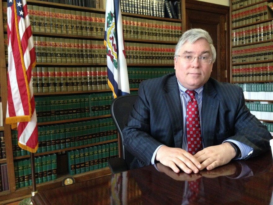 West Virginia Attorney General Patrick Morrisey is shown Thursday, March 3, 2016, at the state Capitol in Charleston, W.Va.