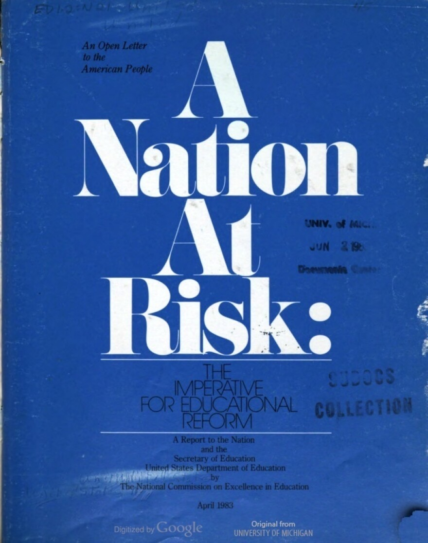 """The original cover of the 1983 """"A Nation At Risk"""" report published by the U.S. Department of Education."""