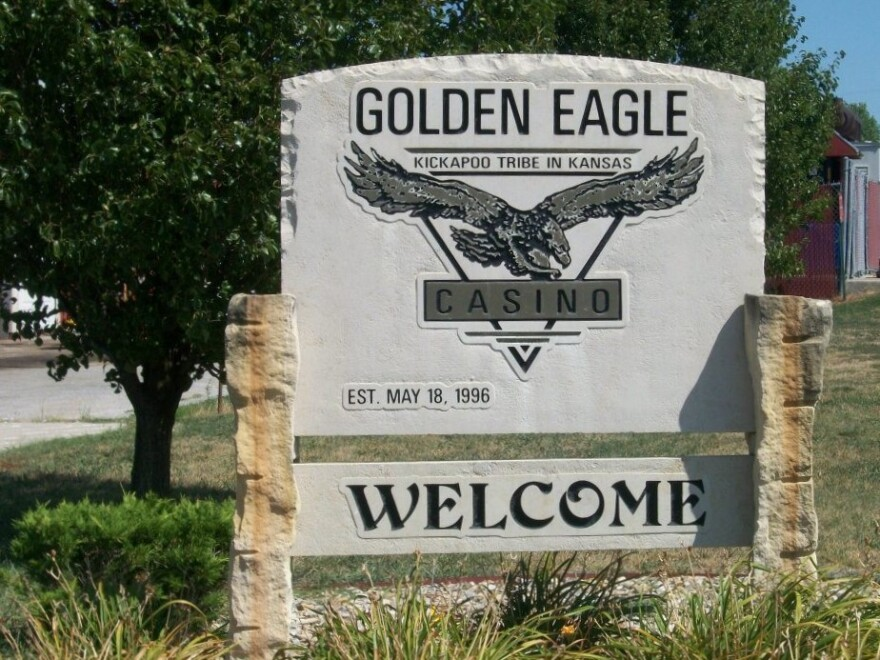 A stone sign advertising the Golden Eagle Casino, owned and operated by the Kickapoo Tribe of Kansas