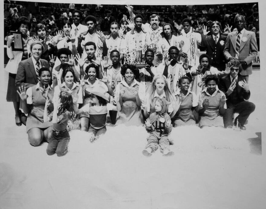 The 1981 Northfork Blue Demons after winning their 8th state championship title.