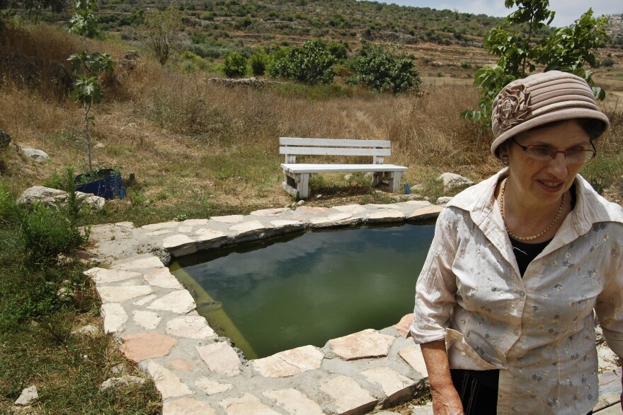 American-born Shifra Blass moved to Neveh Tzuf in 1986, when her husband became the community rabbi. She says since the kids built up the spring area, people come here for picnics or for ritual cleansing before Jewish holidays.