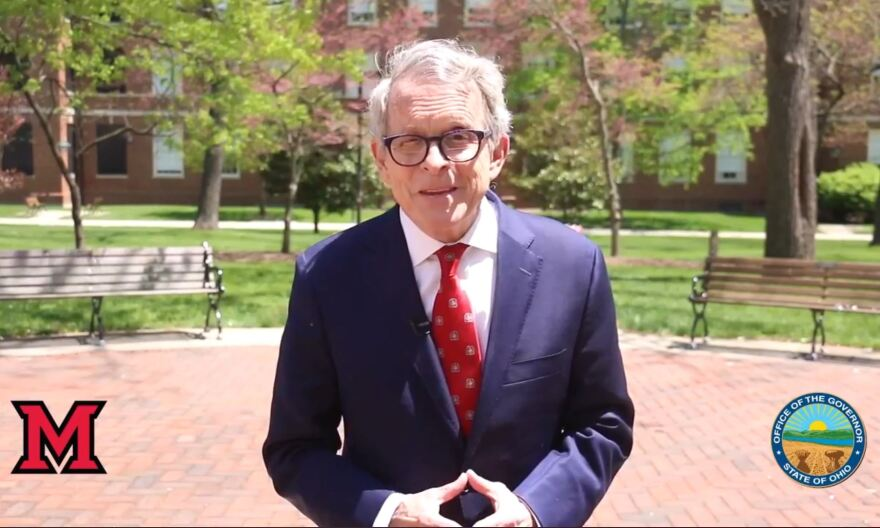 Governor Mike DeWine gave the commencement address at Miami University's first virtual graduation on May 16, 2020, during the coronavirus pandemic.