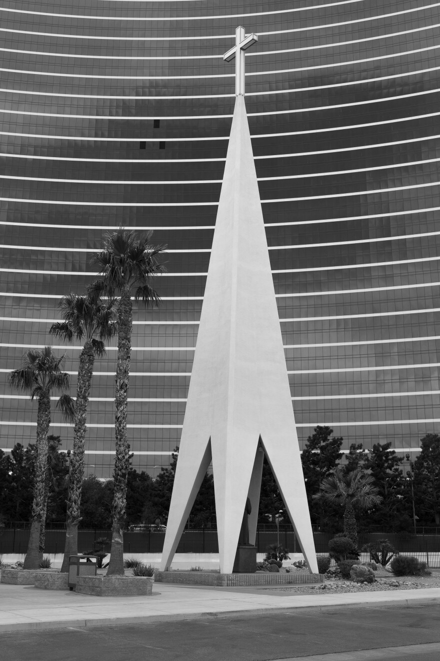 This four-sided spire<strong> </strong>stands beside the Guardian Angel Cathedral on the Las Vegas Strip. Designed by Williams in the early 1960s, both structures were built in 1963 to serve casino employees who lived and worked in the area.