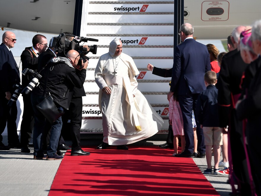 Pope Francis arrived at Dublin Airport on Saturday, the first visit by a Pope since John Paul II's in 1979. He is expected to have private meetings with victims of sexual abuse by Catholic clergy.