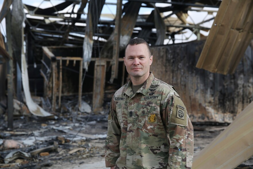 "First Sgt. Westley Kilpatrick commands drone operators. ""We heard there was a potential foreign enemy attack but we didn't know where exactly it was going to happen,"" he says. ""I think our biggest fear was the ground attack. We weren't quite expecting the attack with the missiles. It was a lot bigger than we were expecting."""