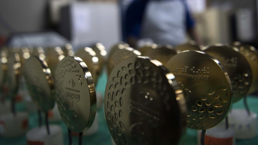 Gold medals for the Rio Olympic Games are displayed at a coin factory in Rio de Janeiro, Brazil, on July 18.
