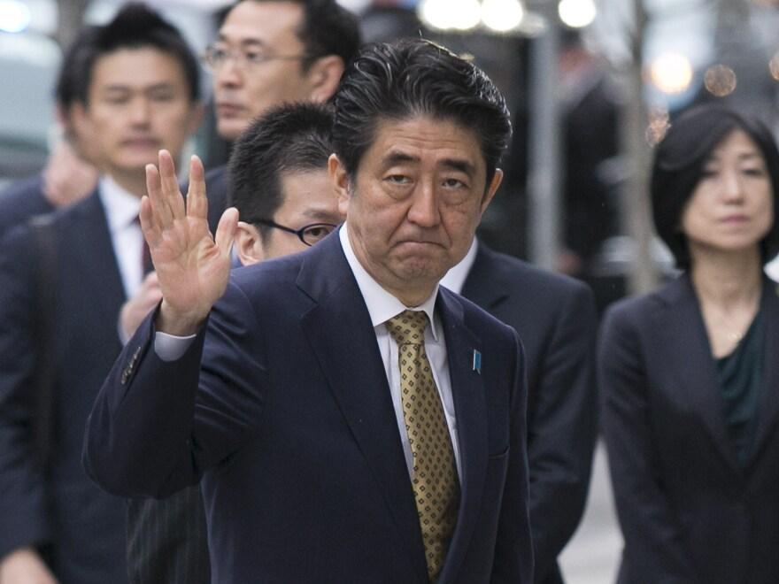 Japanese Prime Minister Shinzo Abe in Boston on Monday.