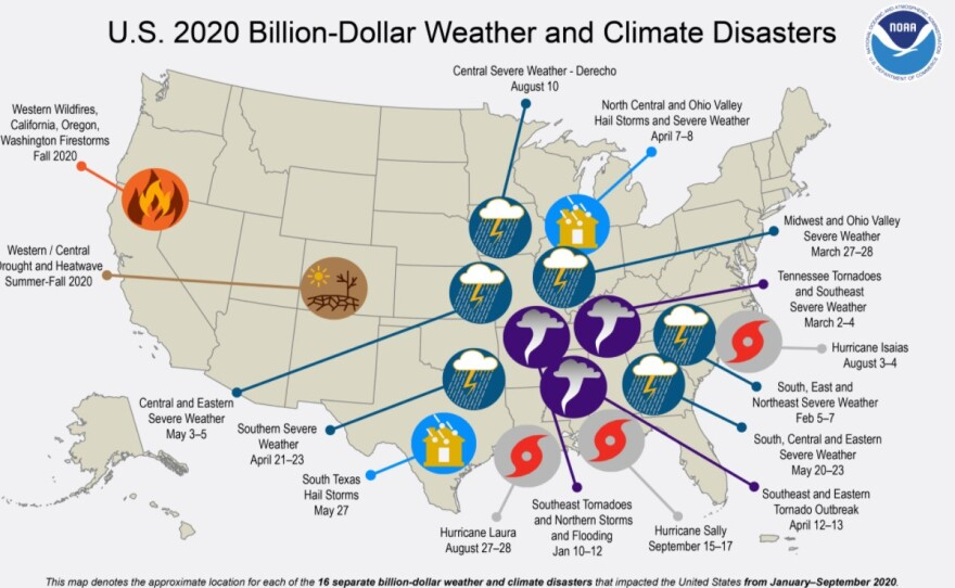 A map showing U.S. billion-dollar weather and climate disasters.