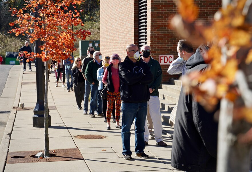 Voters waiting to cast a ballot at Wildwood City Hall on Nov. 3, 2020.