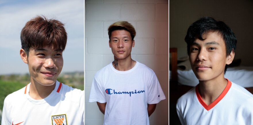 Shi Yan (from left), 16, Chen Pu, 21, and Lin Ran, 16, are soccer players at Desportivo Brasil. Chen is back in the country after first coming in 2015 to participate in a Brazilian championship where he was the first Chinese player to ever score a goal in a professional Brazilian league.