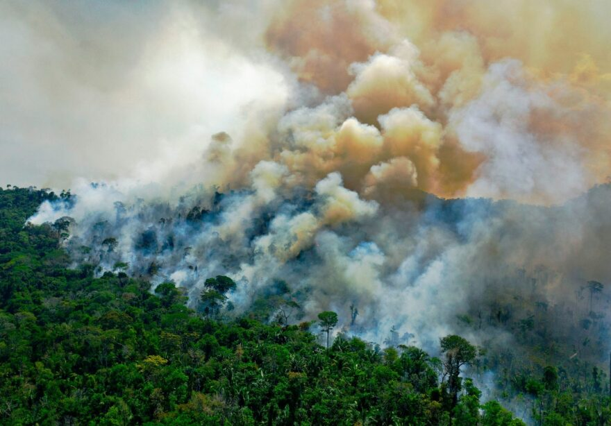Aerial view of a burning area of Amazon rainforest reserve, south of Novo Progresso in Para state.